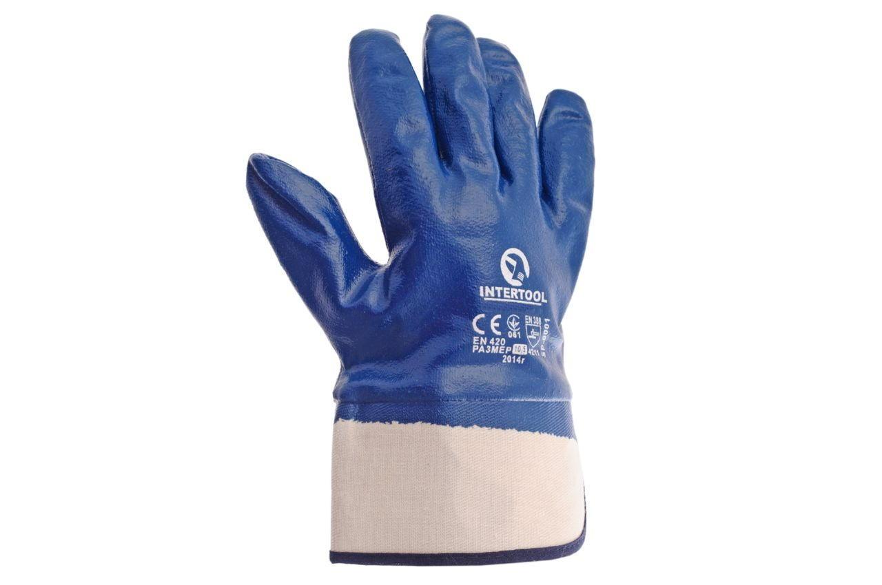 Перчатки Intertool - масло-бензостойкие с твердым манжетом 10,5 2