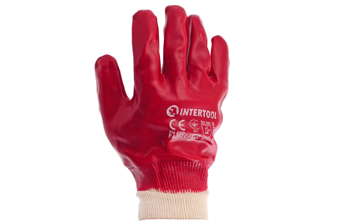 Перчатки Intertool - маслостойкая 26 см х 10,5 (красная) 2
