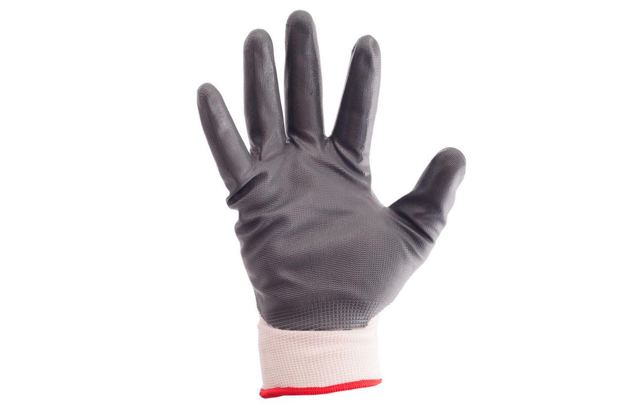 Перчатки Intertool - с нитриловым покрытием 10 (бело-серая) 1