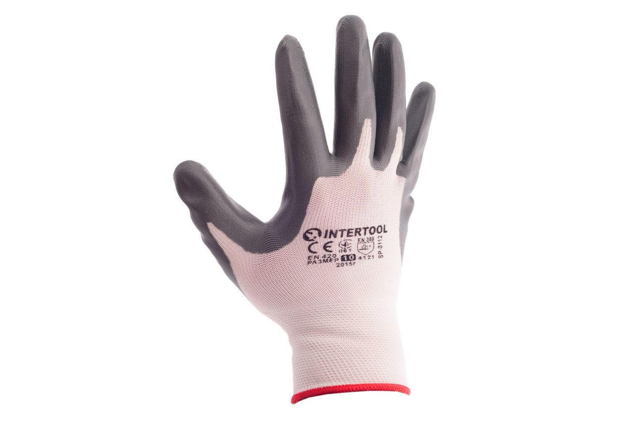 Перчатки Intertool - с нитриловым покрытием 10 (бело-серая) 2
