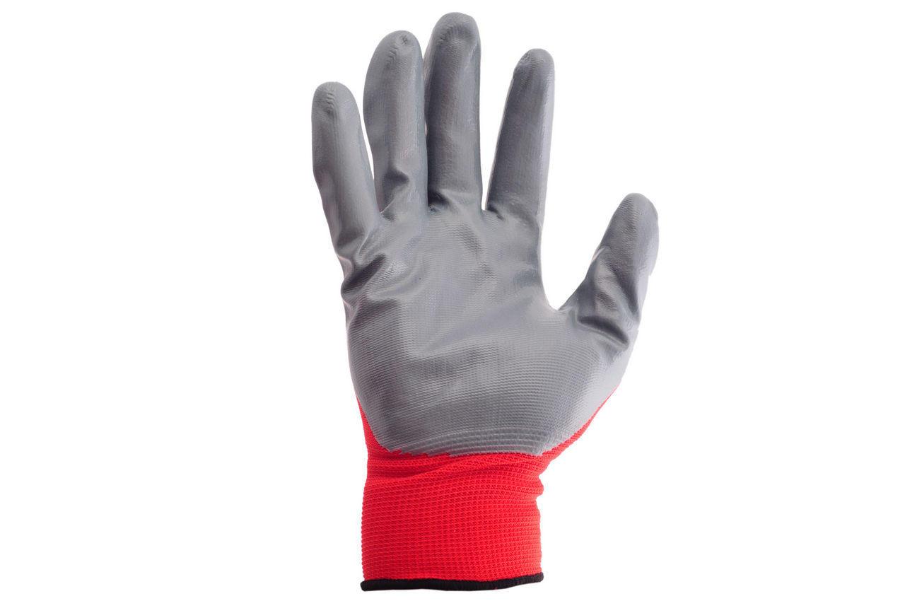 Перчатки Intertool - с нитриловым покрытием 10 (красно-серая) 1