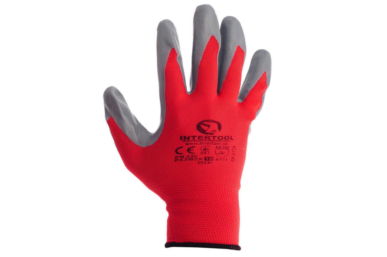 Перчатки Intertool - с нитриловым покрытием 10 (красно-серая) 2