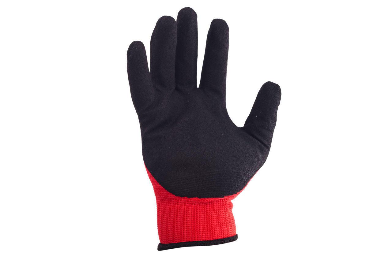 Перчатки Intertool - нитриловые пористая 10 (красно-черная) 3 шт. 1