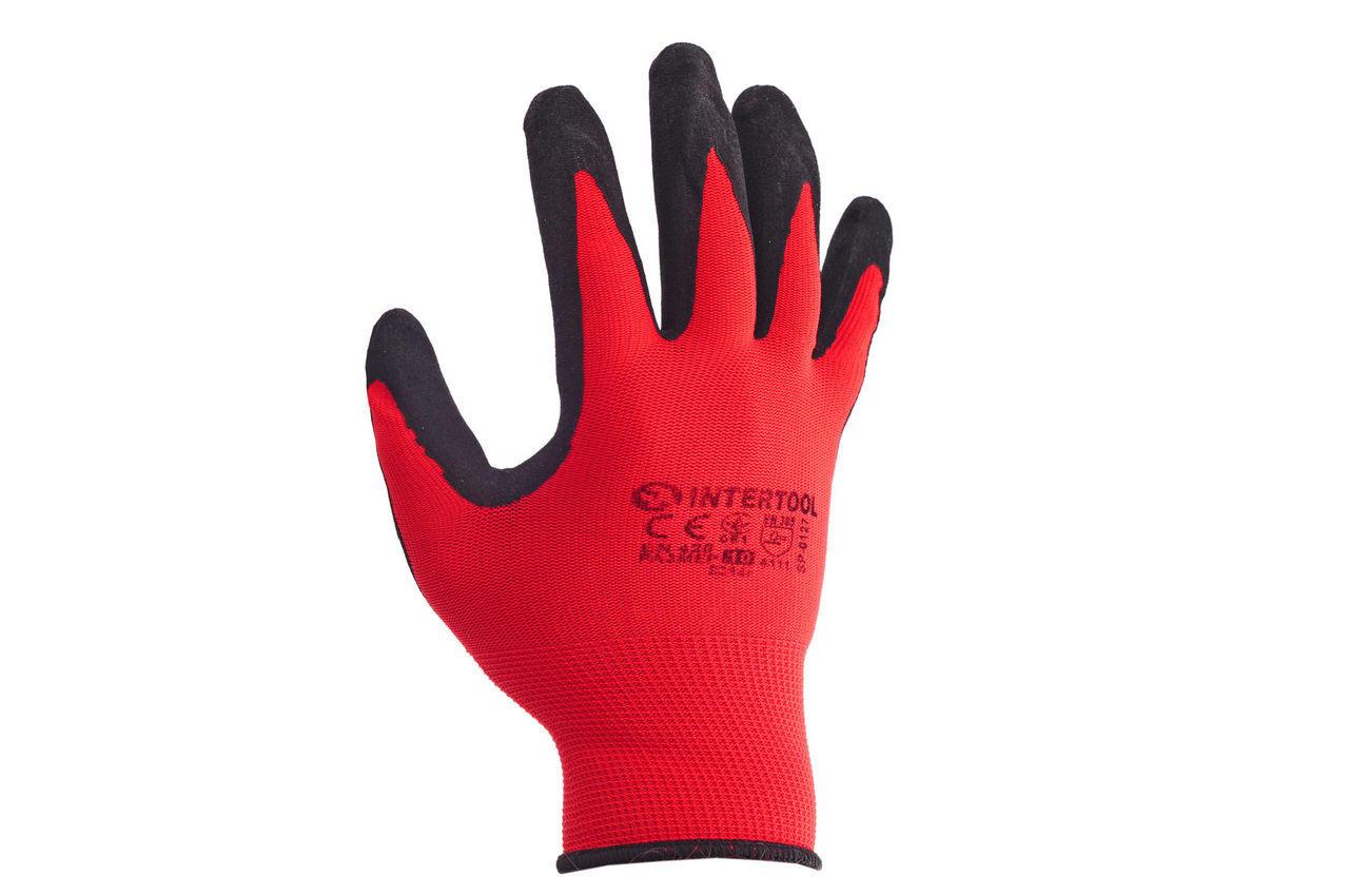 Перчатки Intertool - нитриловые пористая 10 (красно-черная) 3 шт. 2