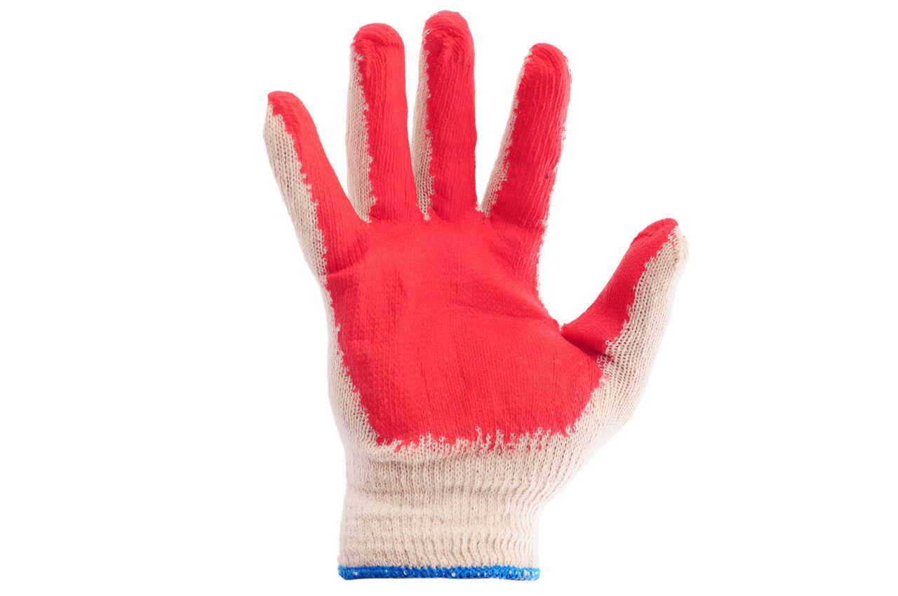 Перчатки Intertool - с латексным покрытием 8 (бело-красная) 1
