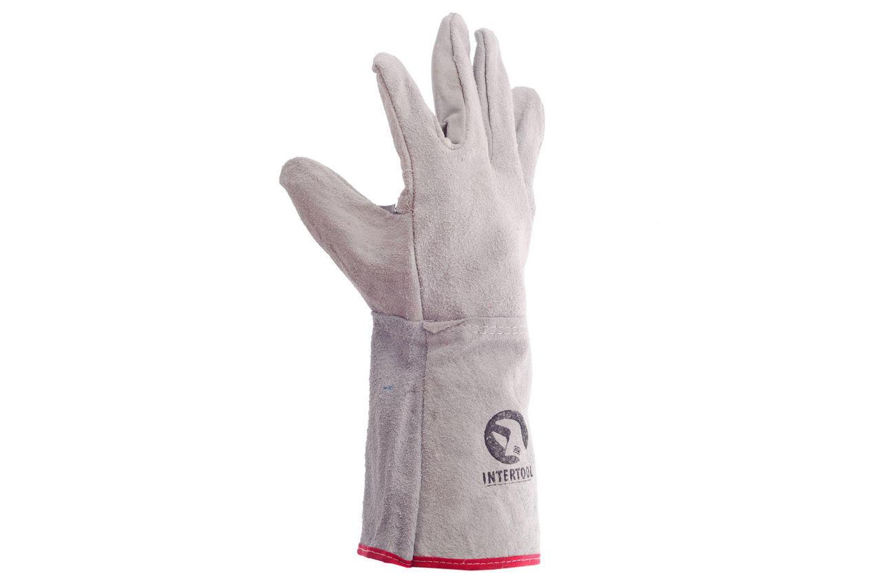 Перчатки Intertool - замшевые краги 35 см х 14 (серые) 2