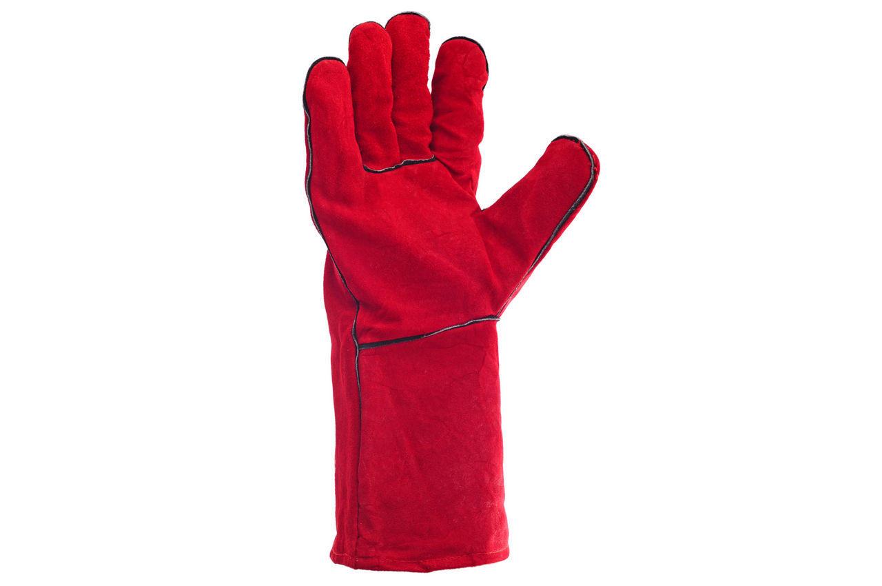 Перчатки Intertool - замшевые краги 35 см х 14 (красные) 1