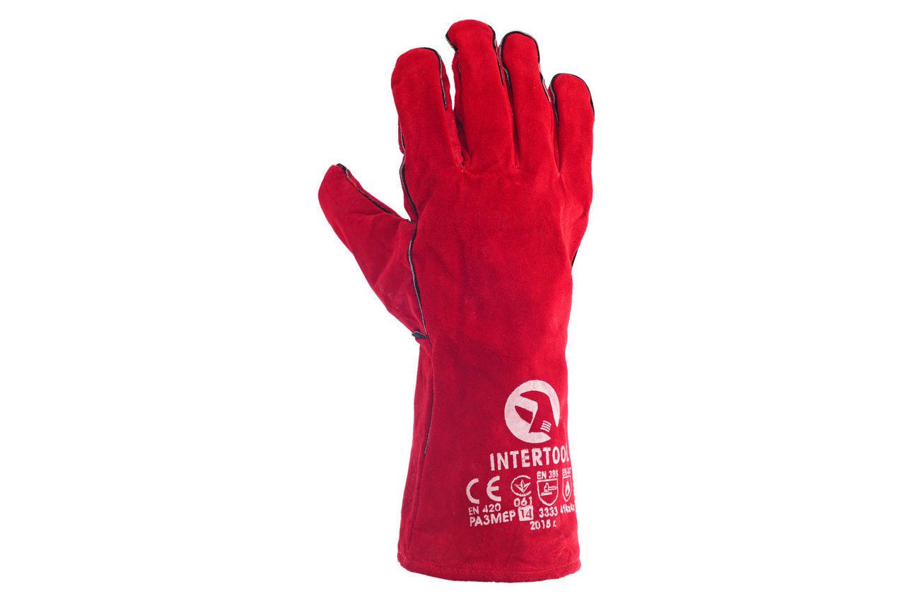 Перчатки Intertool - замшевые краги 35 см х 14 (красные) 2