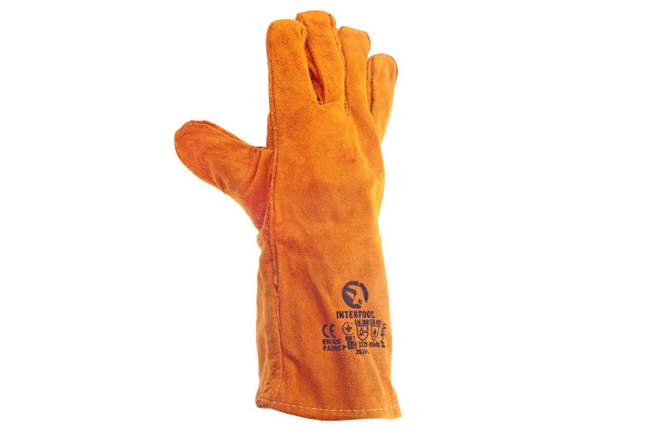 Перчатки Intertool - замшевые краги 35 см х 14 (коричневые) 2
