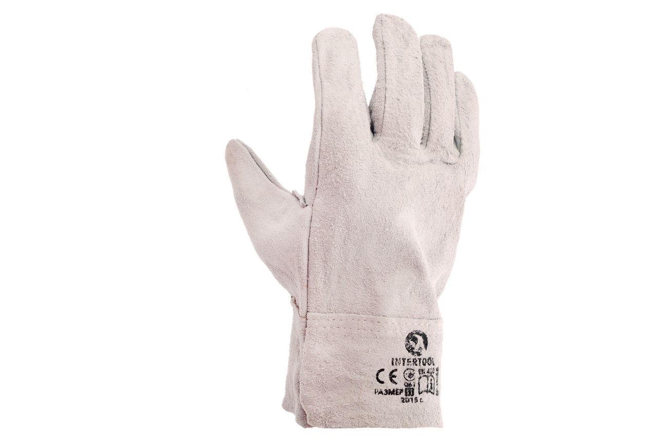 Перчатки Intertool - замшевые краги 27 см х 10,5 (серые) 2