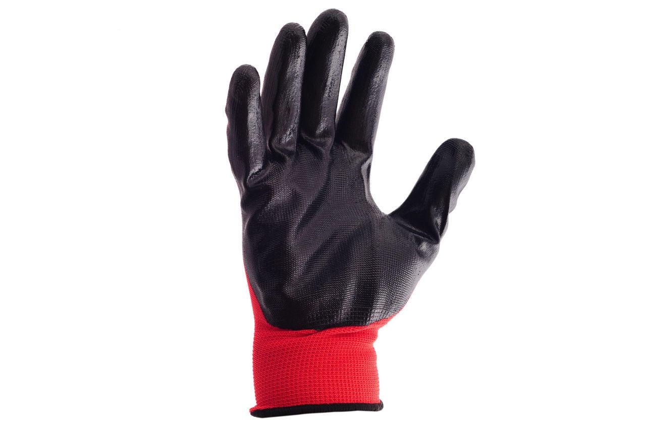 Перчатки Mastertool - с нитриловым покрытием 10 (красно-черные) 1