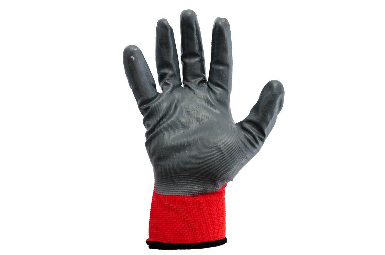 Перчатки Mastertool - с нитриловым покрытием 10 (красно-серые) 1