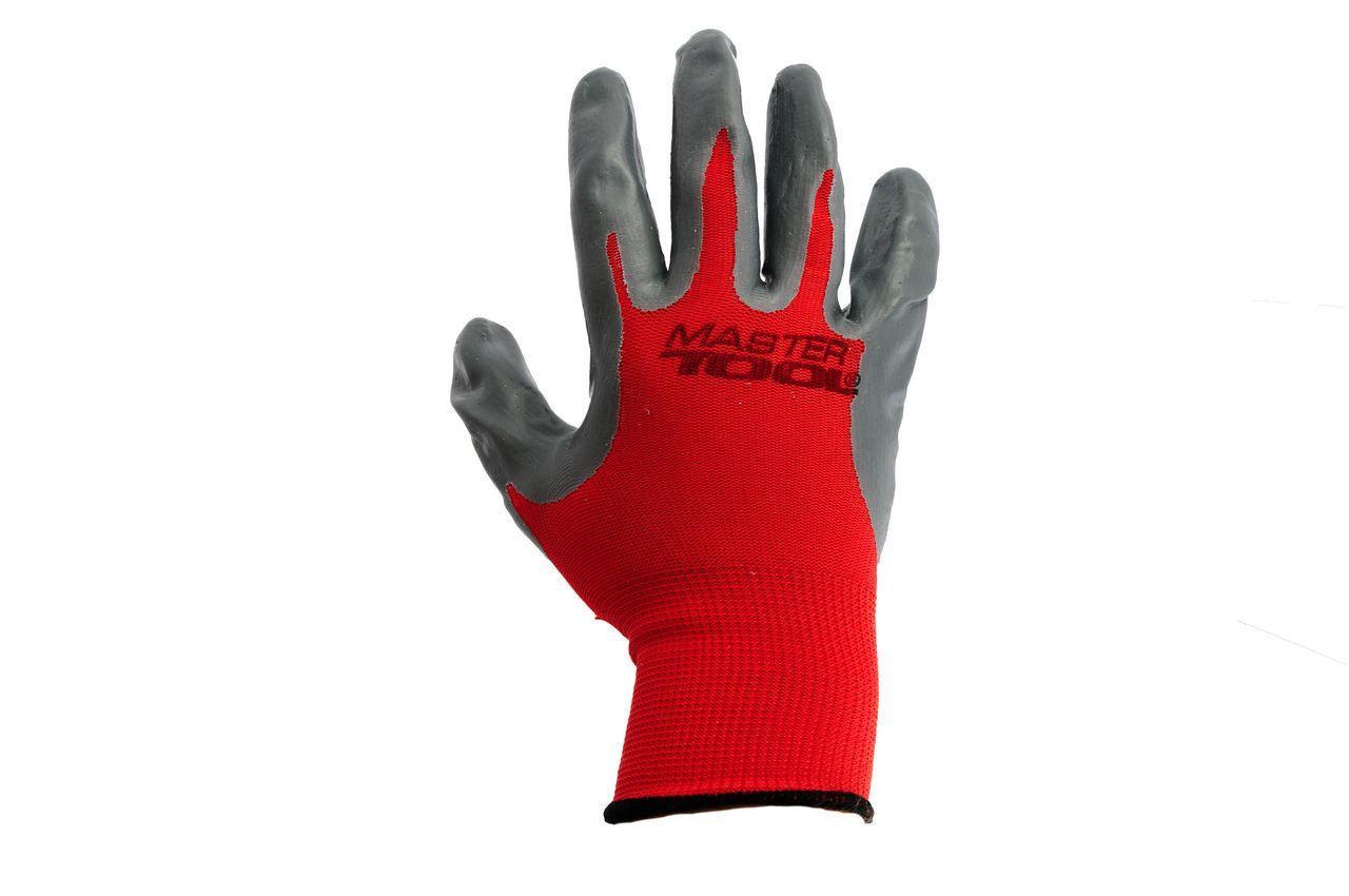 Перчатки Mastertool - с нитриловым покрытием 10 (красно-серые) 2