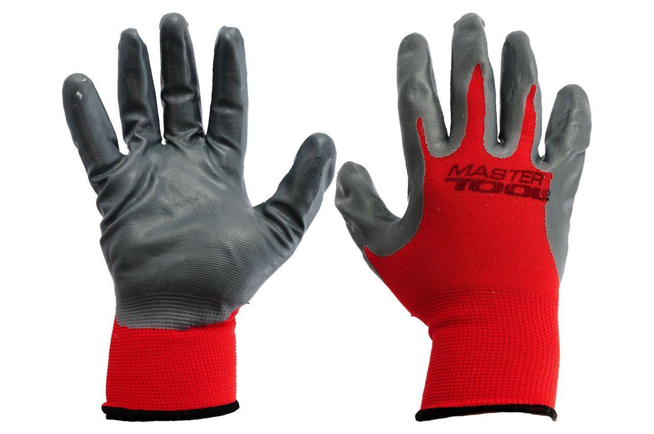 Перчатки Mastertool - с нитриловым покрытием 10 (красно-серые) 3