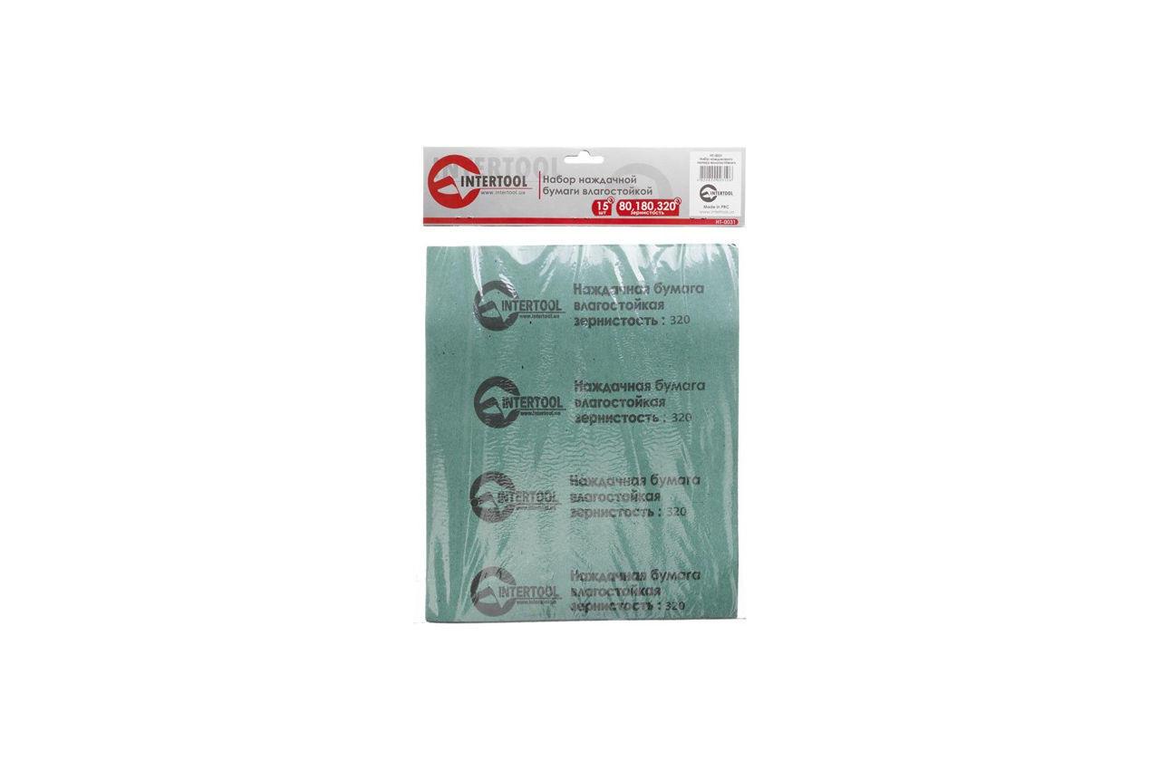 Набор шлифовальных листов Intertool - 15 шт. (P80, P180, P320) 2