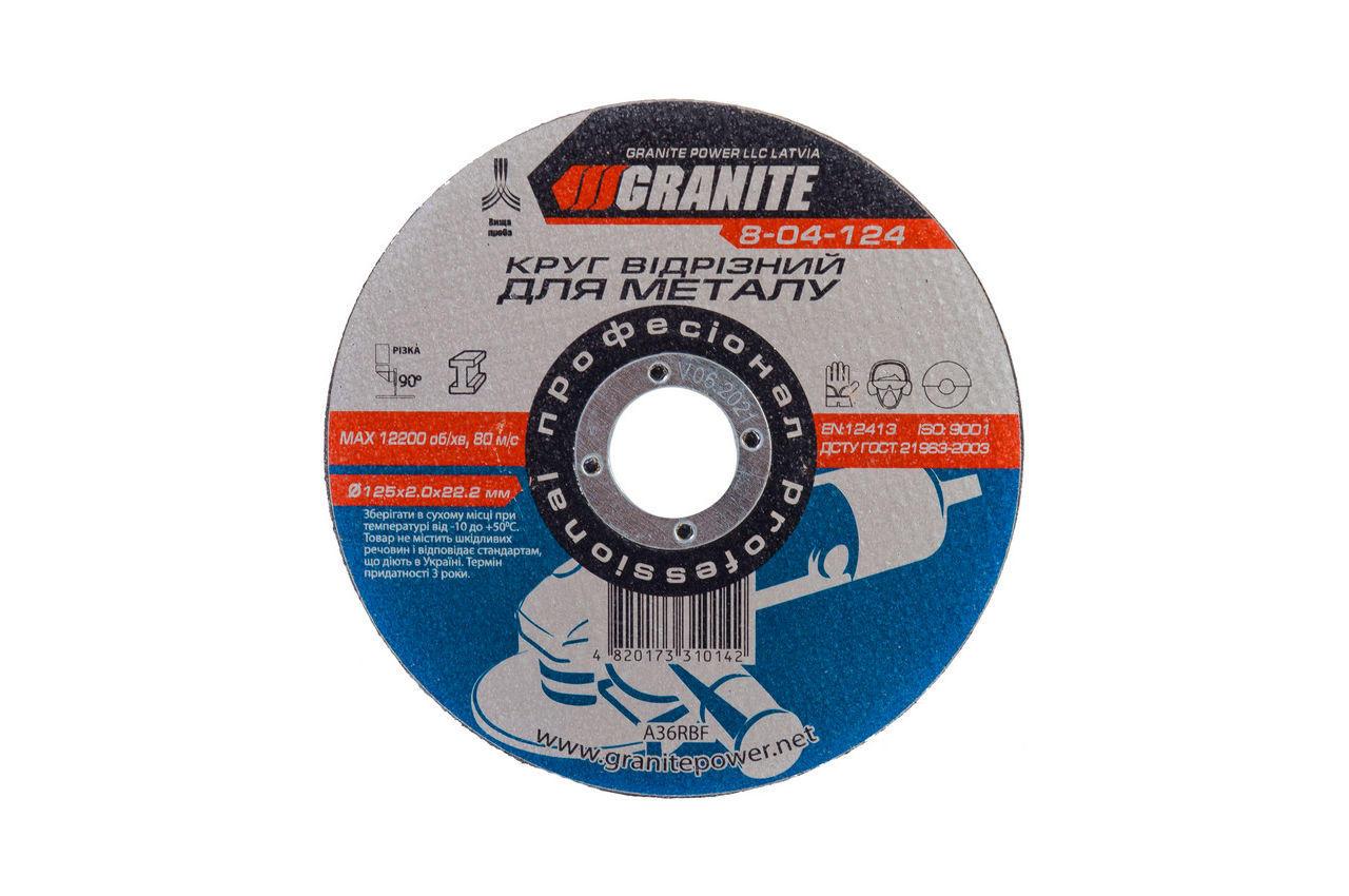 Диск отрезной по металлу Granite - 125 х 2,0 х 22,2 мм 1