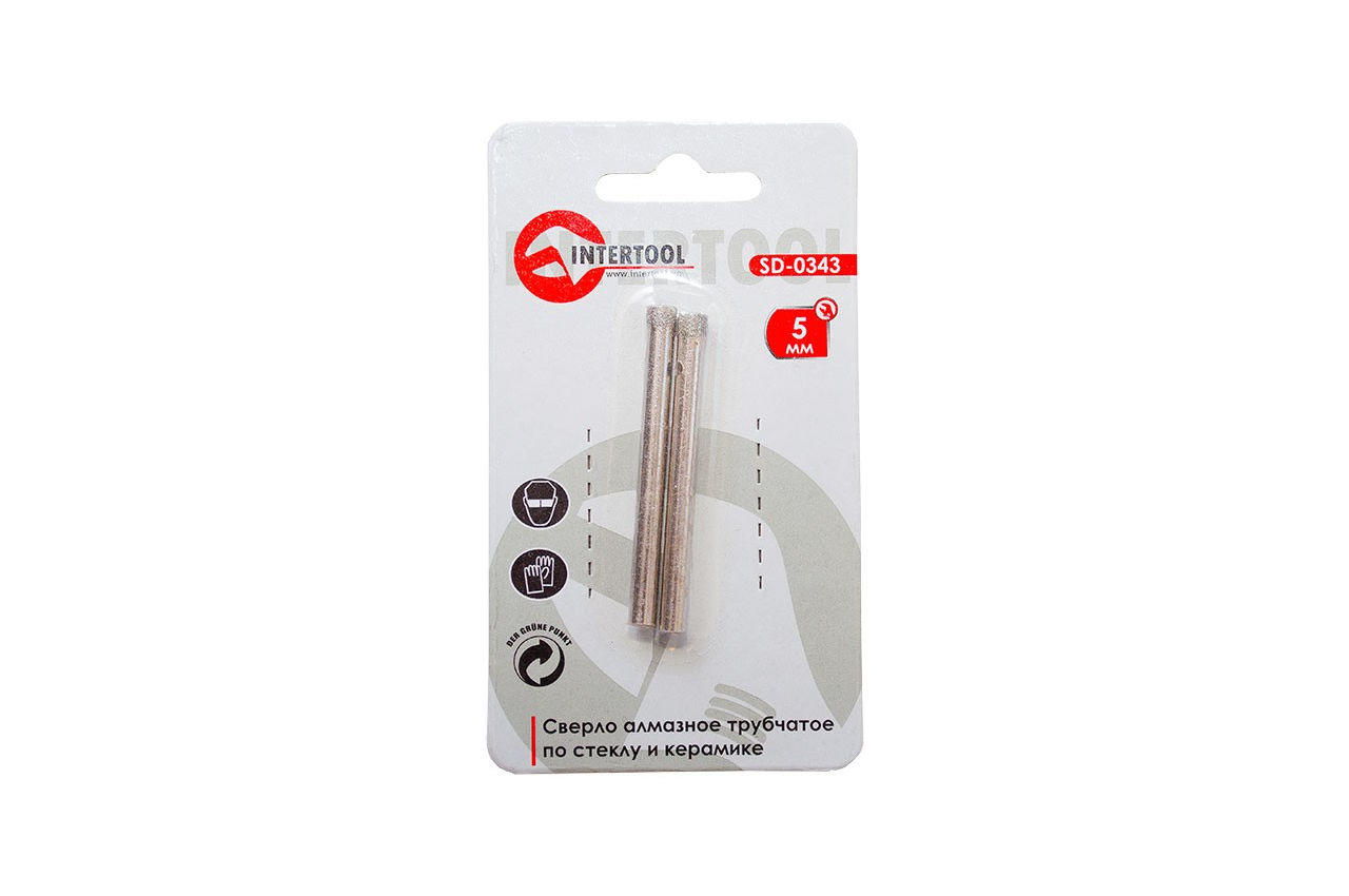 Сверло трубчатое по стеклу и керамике Intertool - 5 мм 1