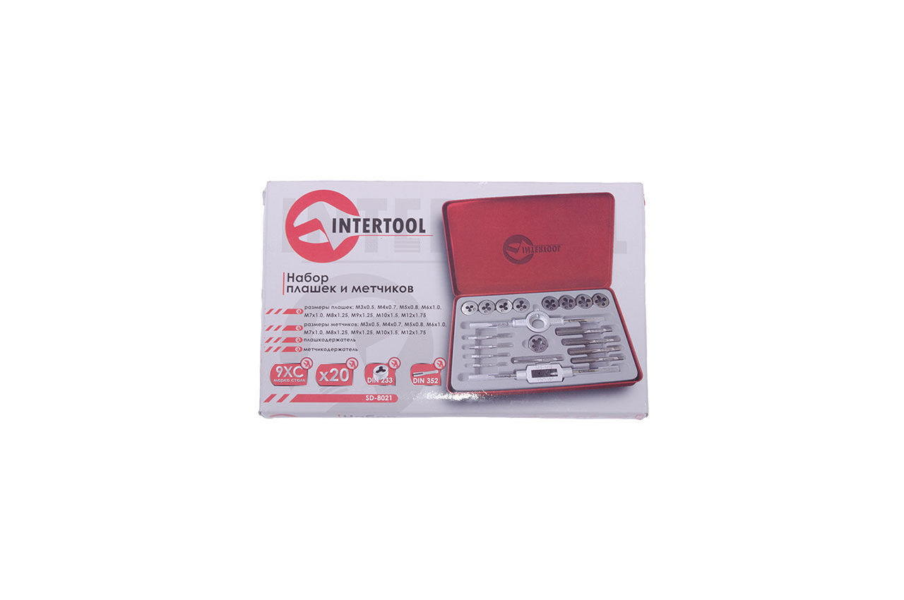 Набор метчиков и плашек Intertool - 20 ед. Pro 3