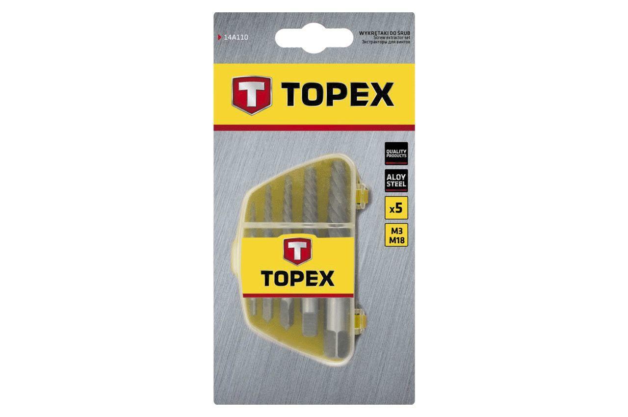 Набор экстракторов для винтов Topex - 5 шт. (3,3-19 мм) 2