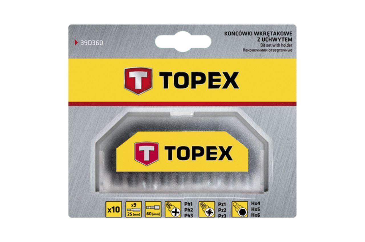 Набор бит с удлинителем Topex - 10 шт. (PH, PZ, H) 2