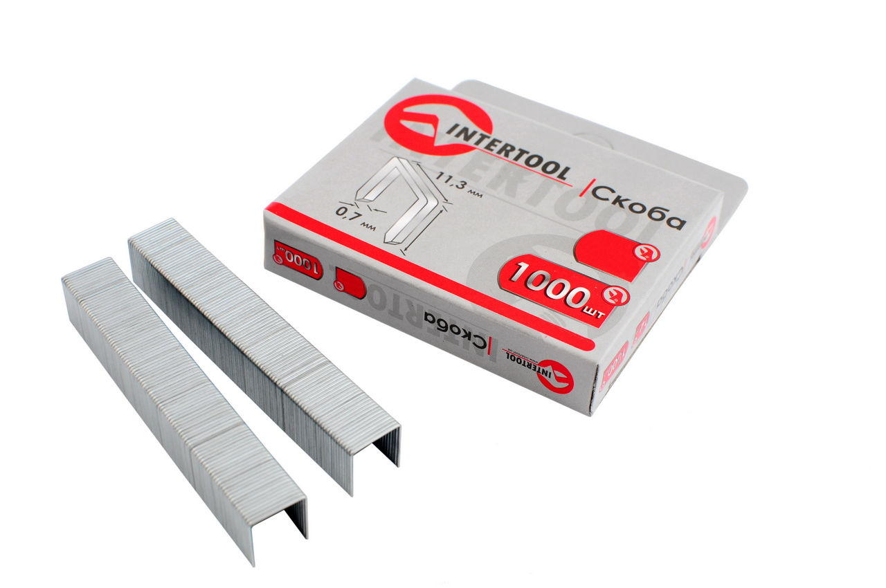 Скоба Intertool - 8 х 0,7 мм (1000 шт.) некаленая 1