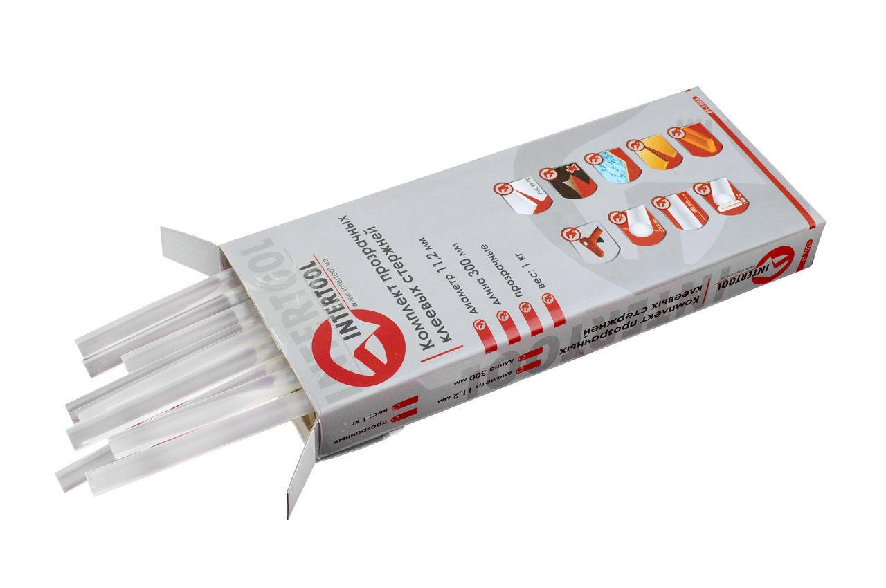 Клеевые стержни Intertool - 11,2 х 300 мм, прозрачные (1 кг) 1