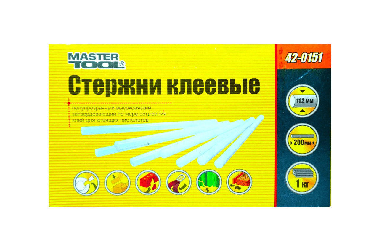 Клеевые стержни Mastertool - 11,2 х 200 мм, прозрачные (1 кг) 3
