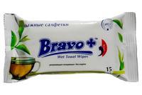 Салфетки влажные Bravo - зеленый чай (15 шт.)