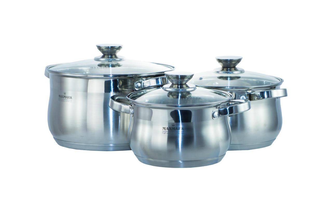 Набор посуды нержавеющий Maxmark - 5 шт. (1,5 x 2 x 3 x 5 л + сотейник 1,8 л) MK-BL2510 1
