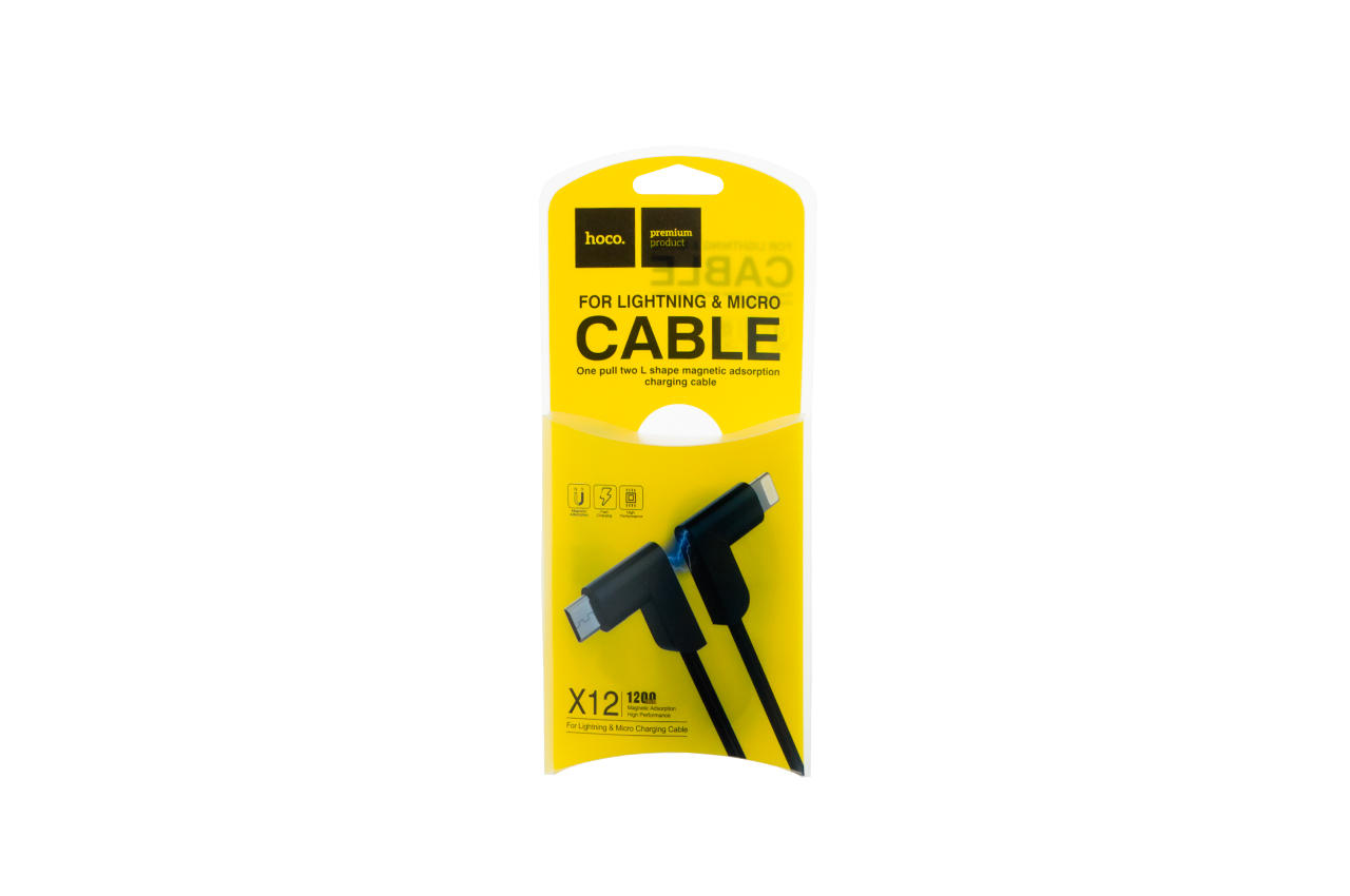 Кабель Lightning+Micro-USB Hoco - X12 1,2 м Black 2