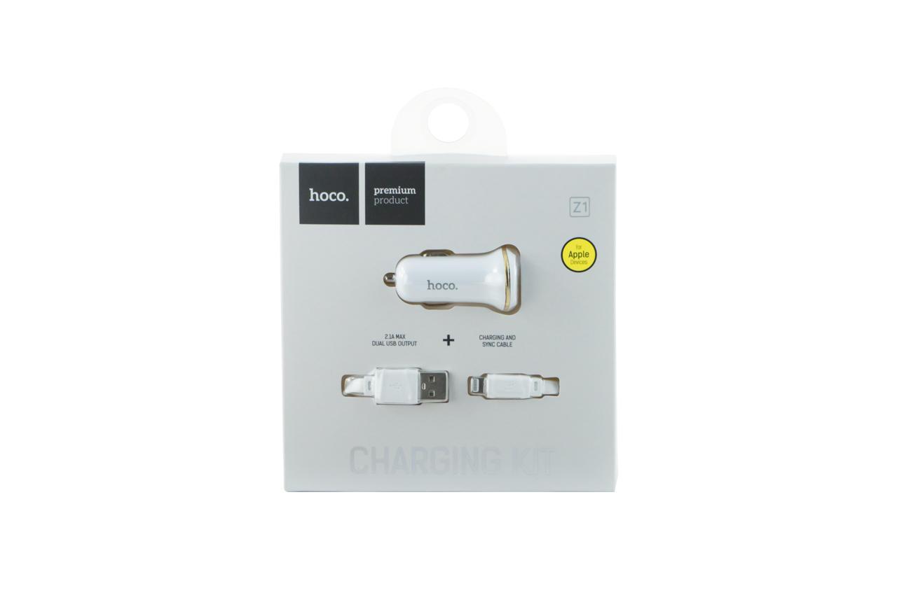 Автомобильное зарядное устройство Hoco - Z1 2USB x Lightning White 2