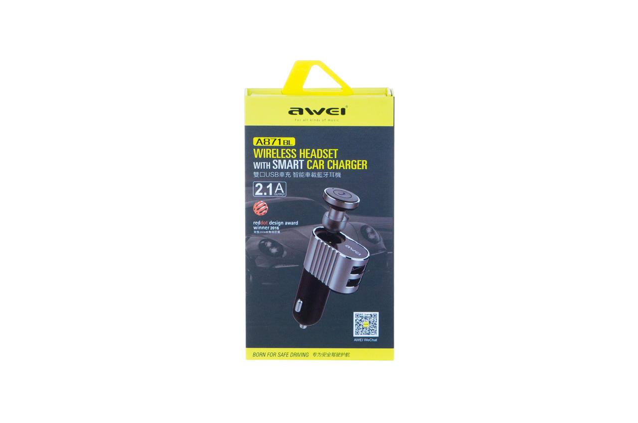 Автомобильное зарядное устройство + гарнитура Awei - A871BL 2USB Gray 3