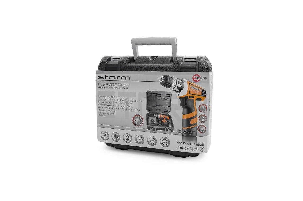 Шуруповерт аккумуляторный Intertool - Storm 12В 7