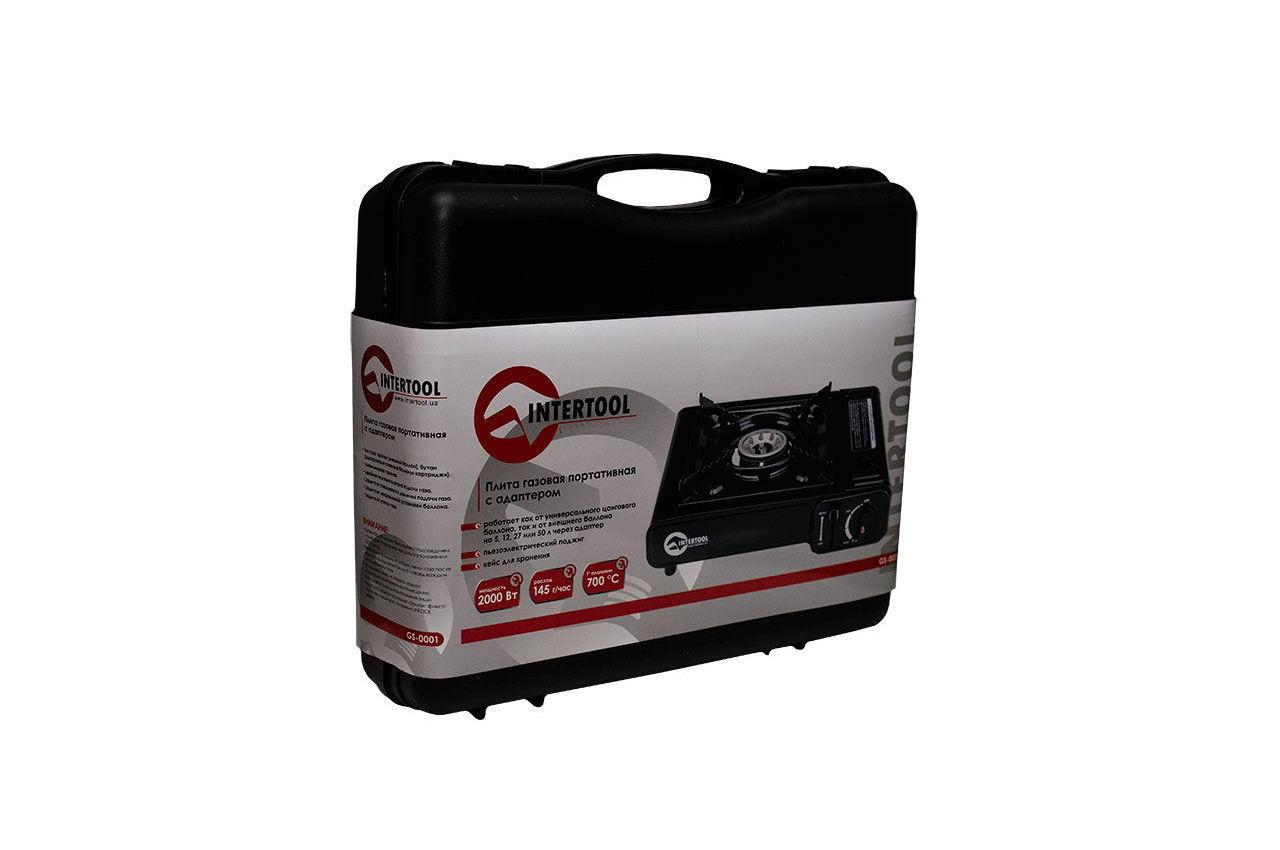Плита газова портативна Intertool - 342 x 275 x 113 с адаптером 9