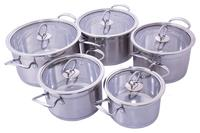 Набор посуды нержавеющий Empire - 2,5 x 2,6 x 3,3 x 4,2 x 5,5 л (5 шт.)