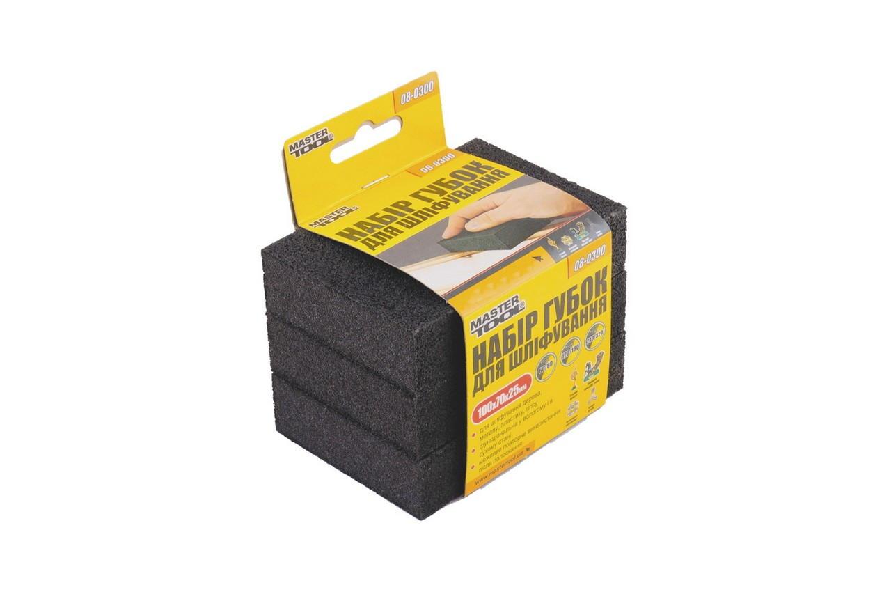 Набор губок шлифовальных Mastertool - 100 x 70 x 25 мм (3 шт.) P60-320 1