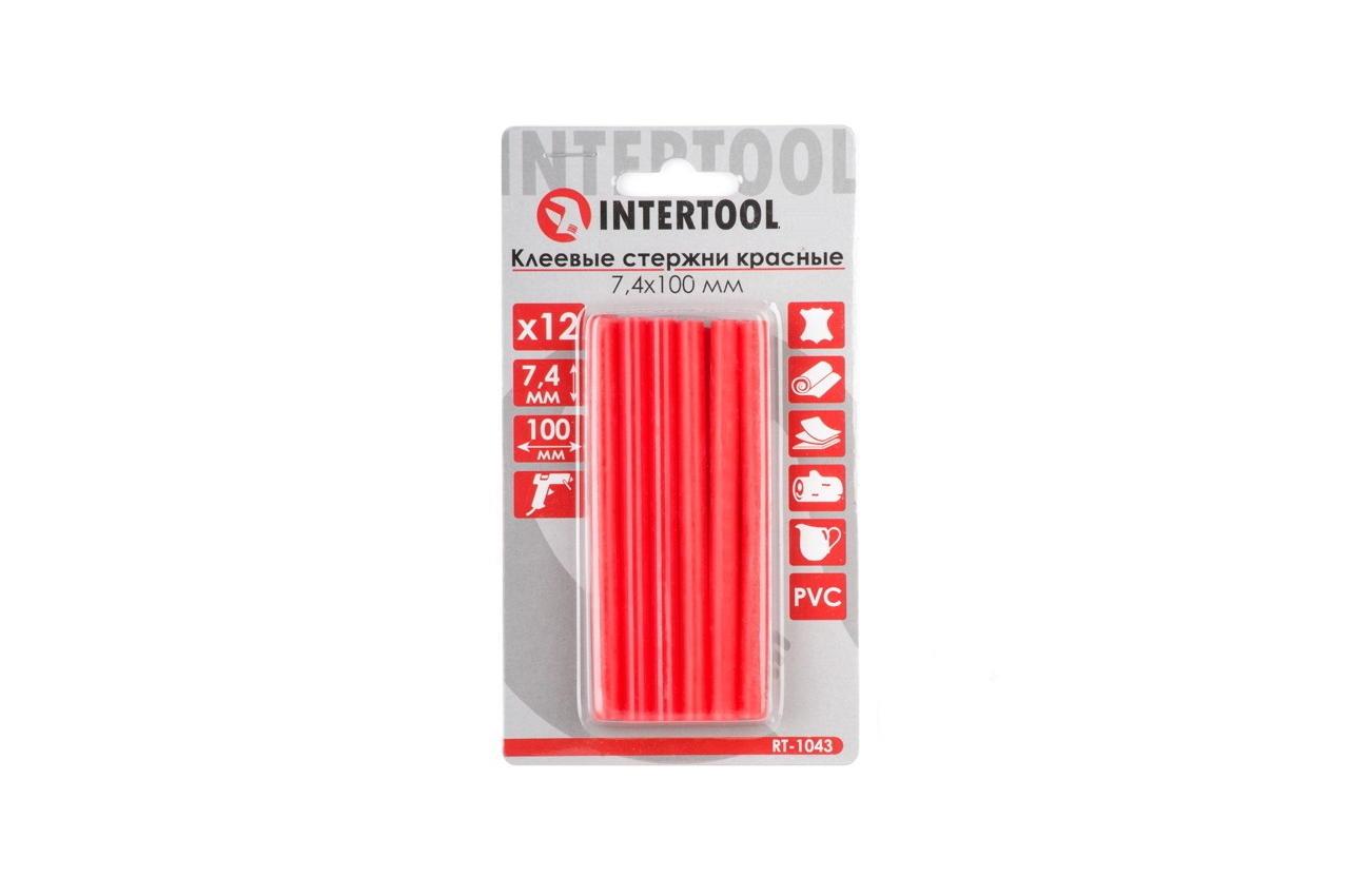 Клеевые стержни Intertool - 7,4 x 100 мм, красные (12 шт.) 1