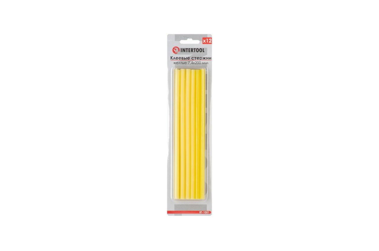 Клеевые стержни Intertool - 7,4 x 200 мм, желтые (12 шт.) 1
