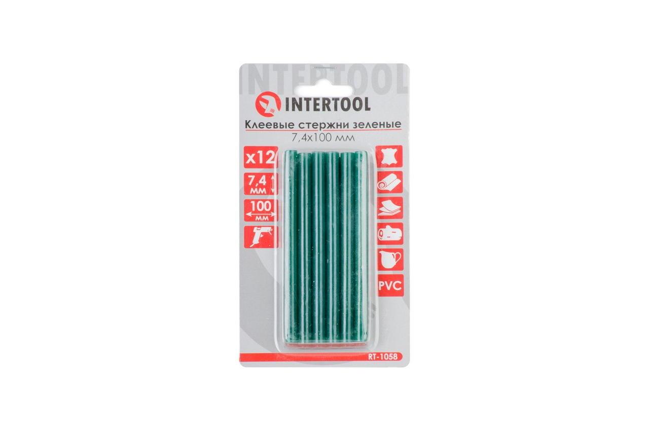 Клеевые стержни Intertool - 7,4 x 100 мм, зеленые (12 шт.) 1