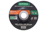 Диск зачистной по металлу Apro - 115 х 6 х 22,2 мм