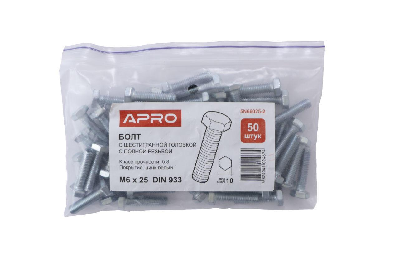 Болт шестигранный Apro - 6 x 25 мм DIN 933 (50 шт.) 2