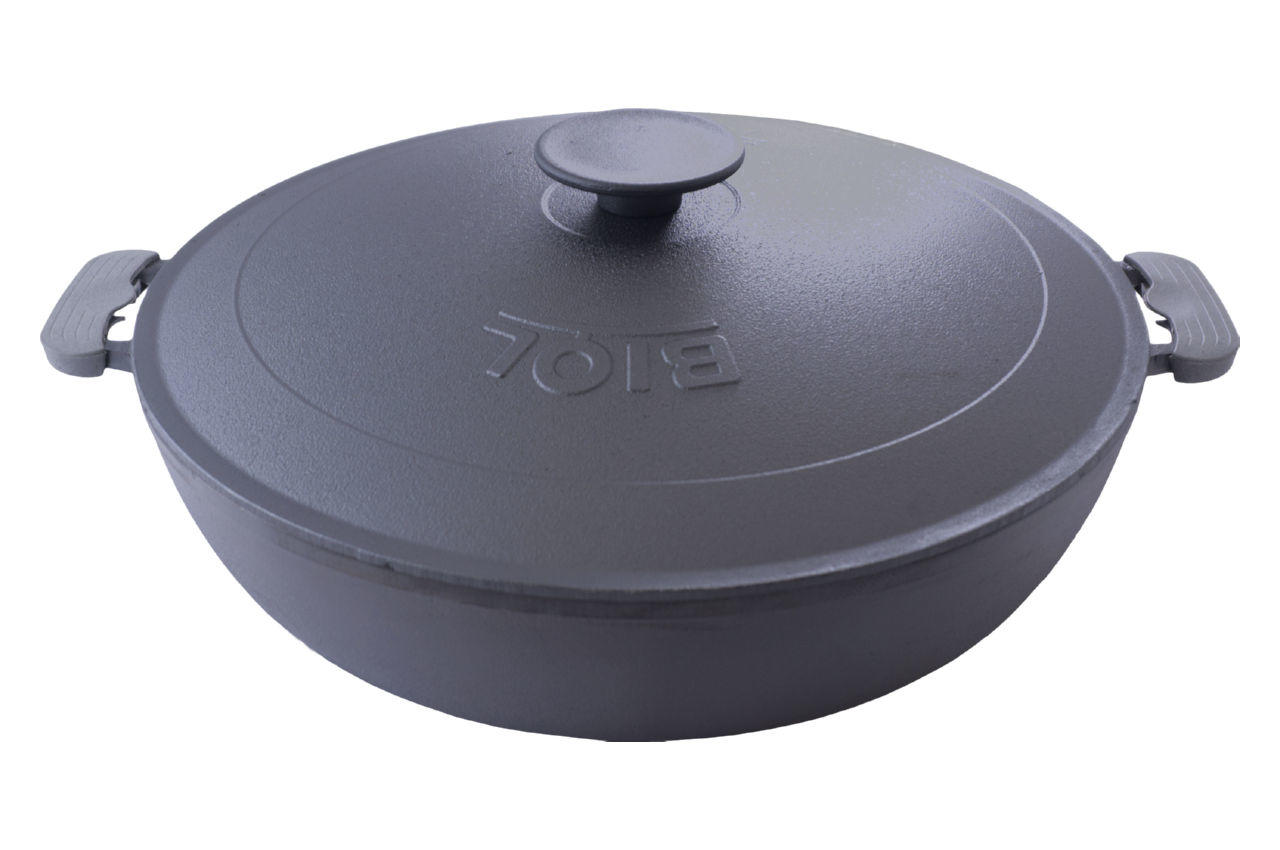 Сковорода жаровня чугунная Biol - 360 мм с крышкой 2