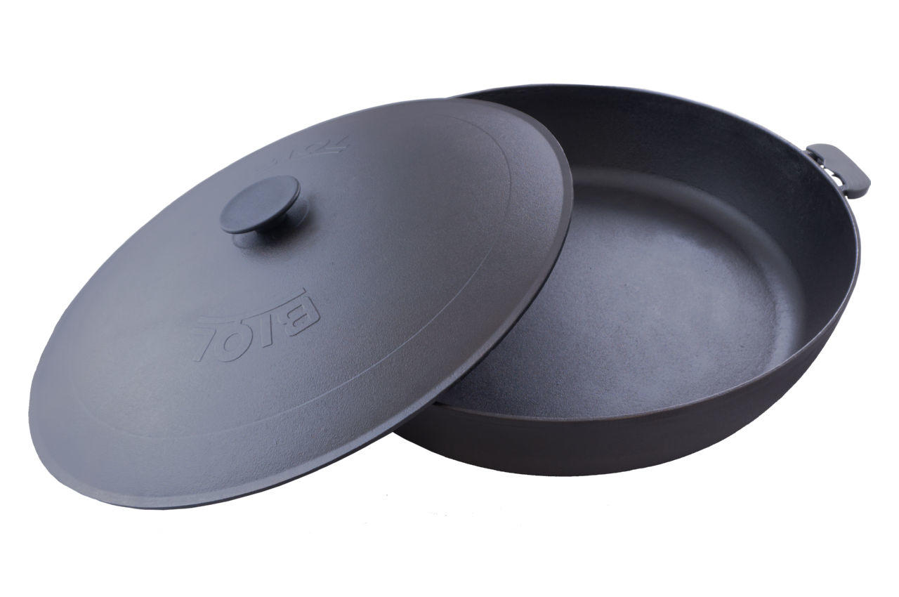 Сковорода жаровня чугунная Biol - 500 мм с крышкой 3