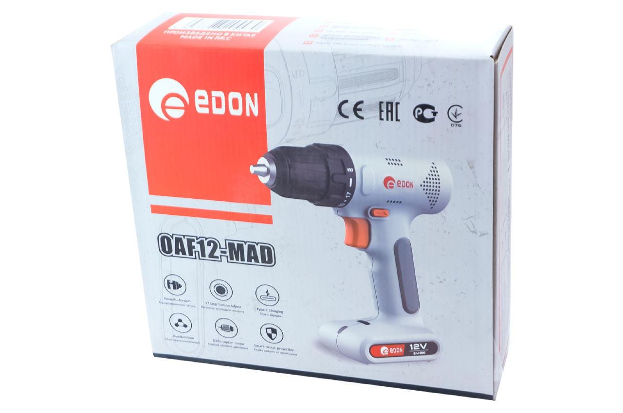 Шуруповерт аккумуляторный Edon - 12В Li-Ion OAF12-MAD 5