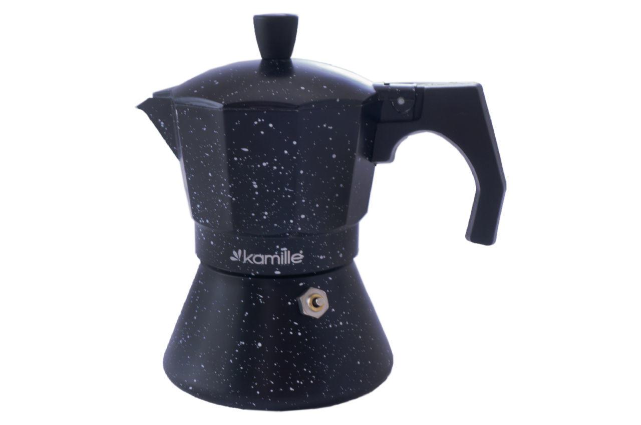 Кофеварка гейзерная алюминиевая Kamille - 150 мл индукция мрамор 1