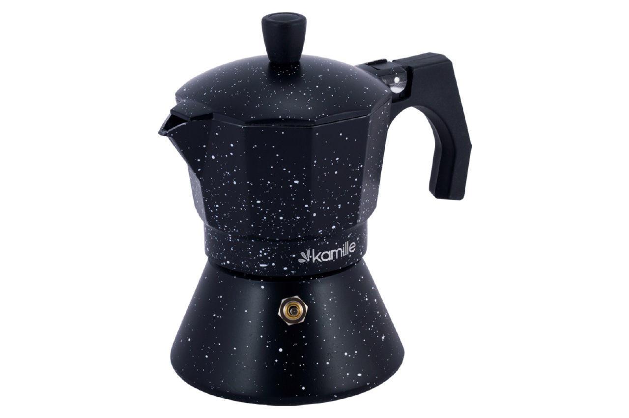 Кофеварка гейзерная алюминиевая Kamille - 150 мл индукция мрамор 4