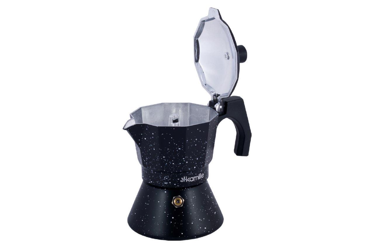 Кофеварка гейзерная алюминиевая Kamille - 150 мл индукция мрамор 5