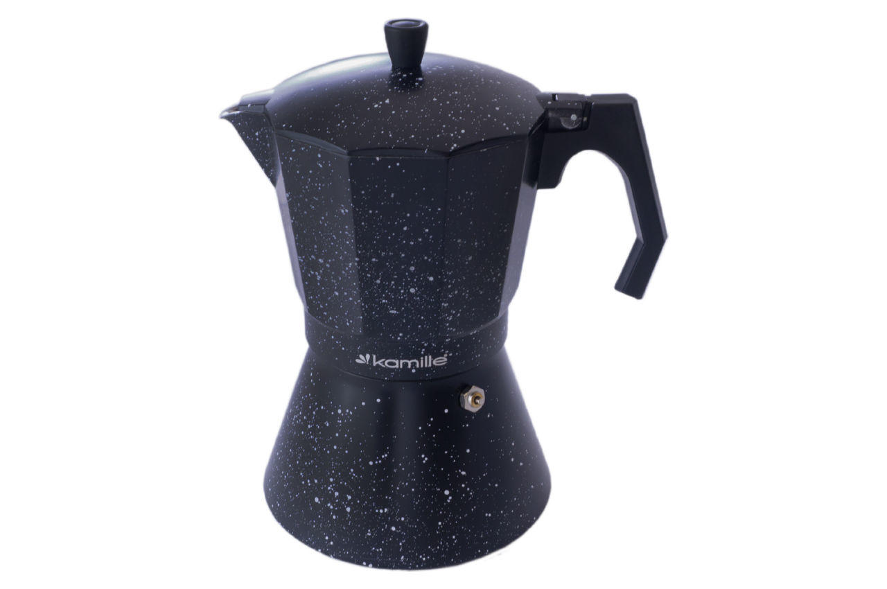 Кофеварка гейзерная алюминиевая Kamille - 600 мл  мрамор 1