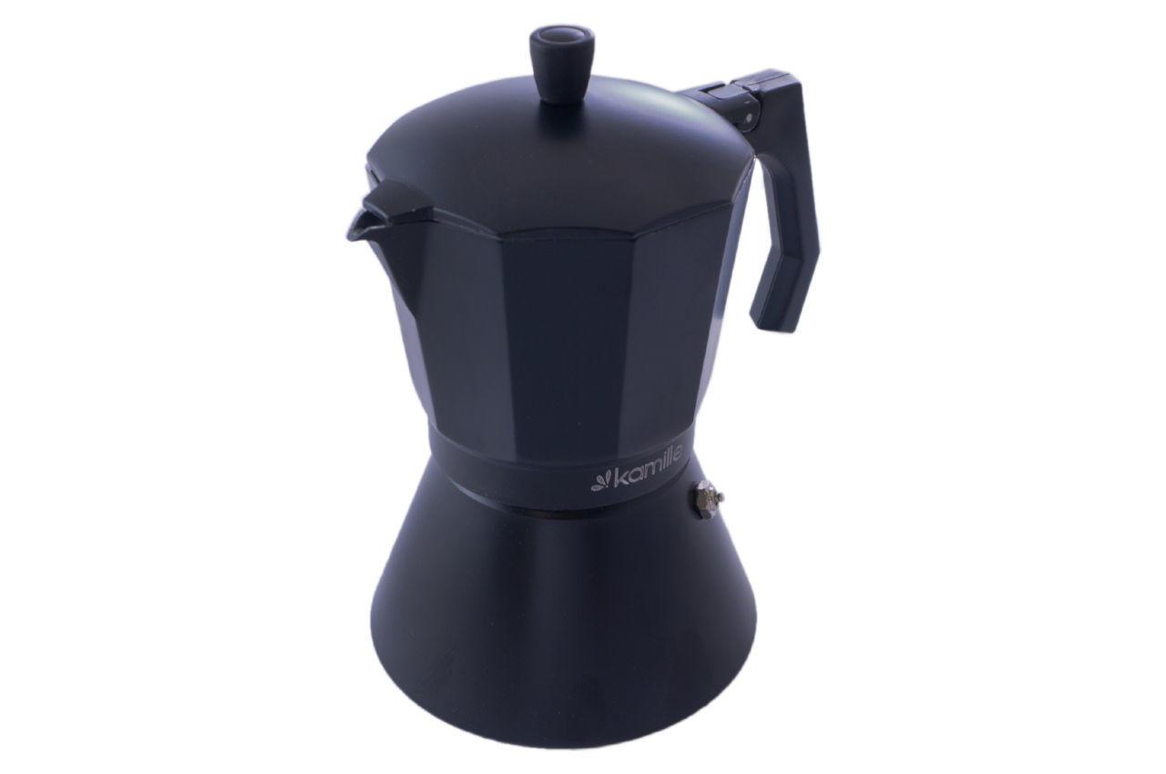 Кофеварка гейзерная алюминиевая Kamille - 450 мл индукция черная 2