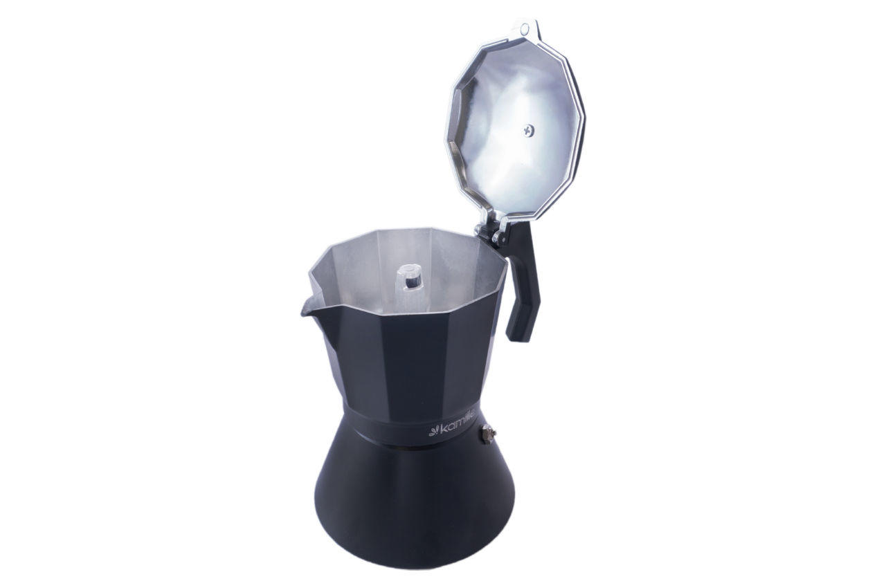 Кофеварка гейзерная алюминиевая Kamille - 450 мл индукция черная 3